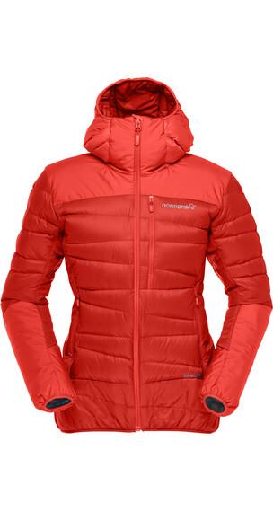 Norrøna W's Falketind 750 Down Hood Jacket Crimson Kick